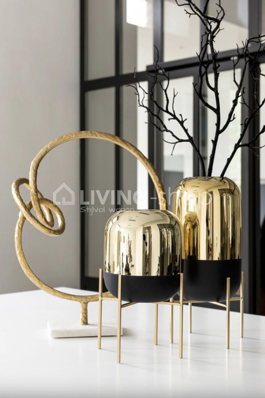 Windlichten Op Voet Zwart Goud J Line Decoratie Modern Vintage Living Shop Stijlvolwonen Webshop Goud Interieur Vazen Zwart Goud