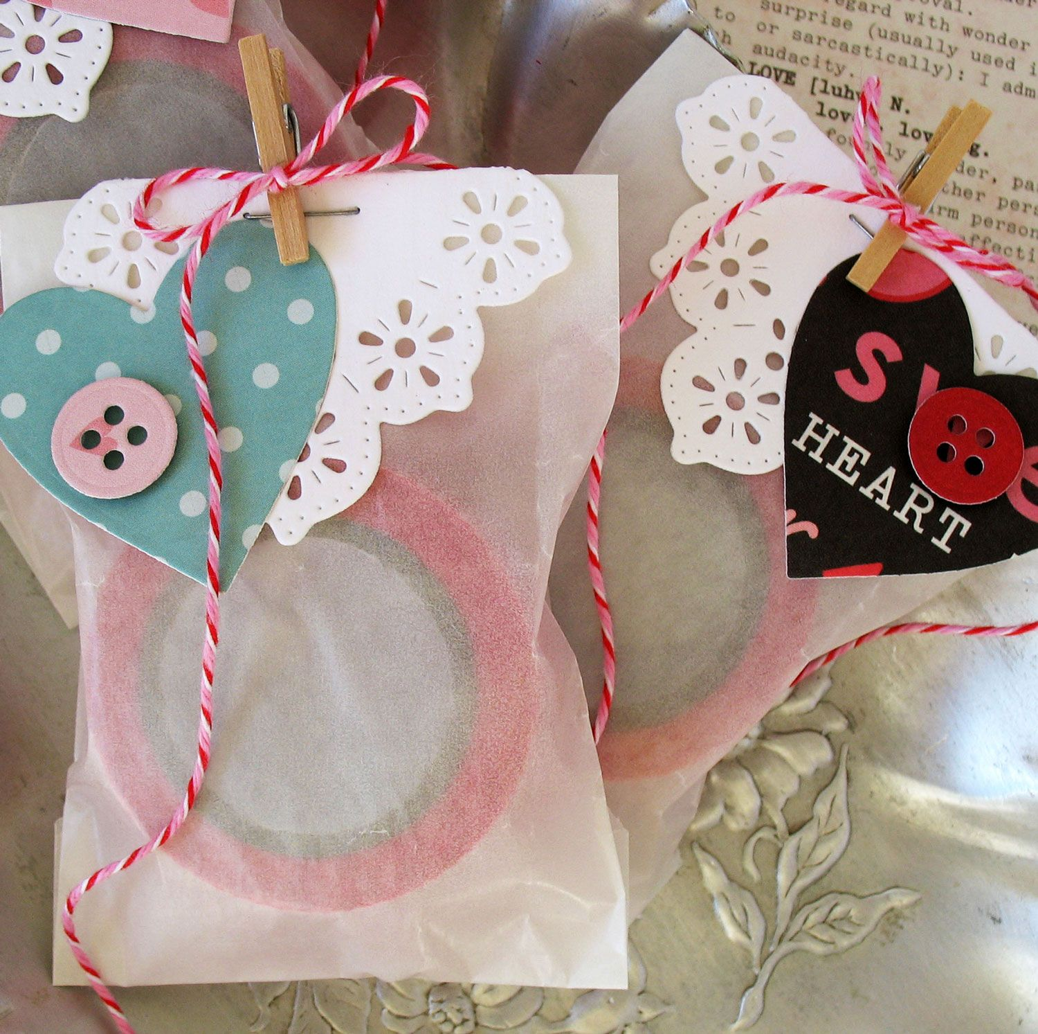Make these Valentine's Day Treat Bags by using Top Dog Dies Sophie A2 Mat Die Set and Sew Much Fun Die Set.