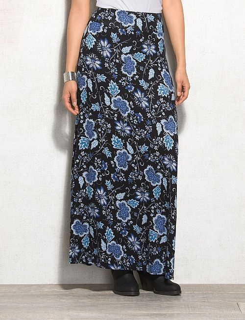 Black and Blue Floral Print Maxi Skirt