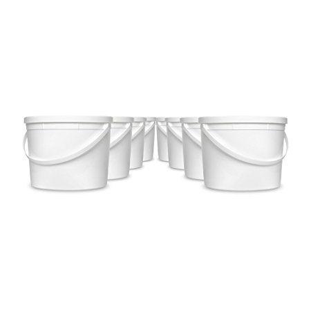 Amazon Com 1 Gallon White Bucket Amp Lid Set Of 8 Durable All Purpose Pail Food Grade Plastic Container Kitche Plastic Containers Food Grade Gallon