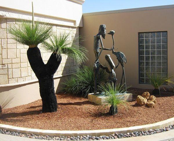 Grasstree And Sculpture South Perth Australian Native Garden Courtyard Garden Native Garden