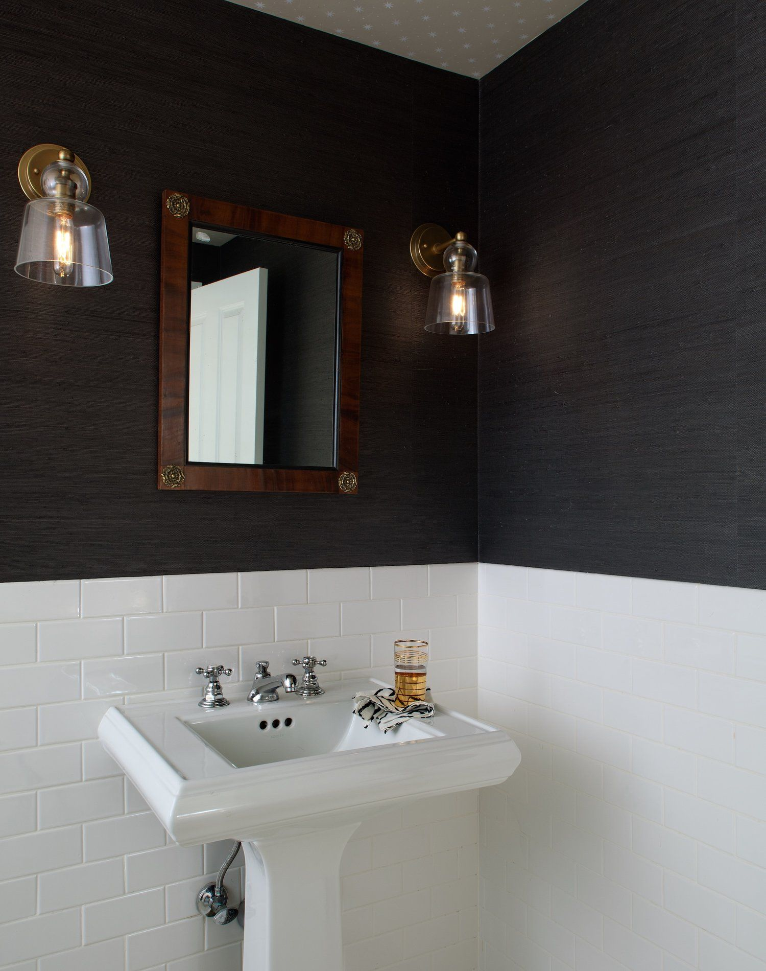Powder Room By Amy Kartheiser Design: Classic Powder Room Design With Half White Subway Tile And