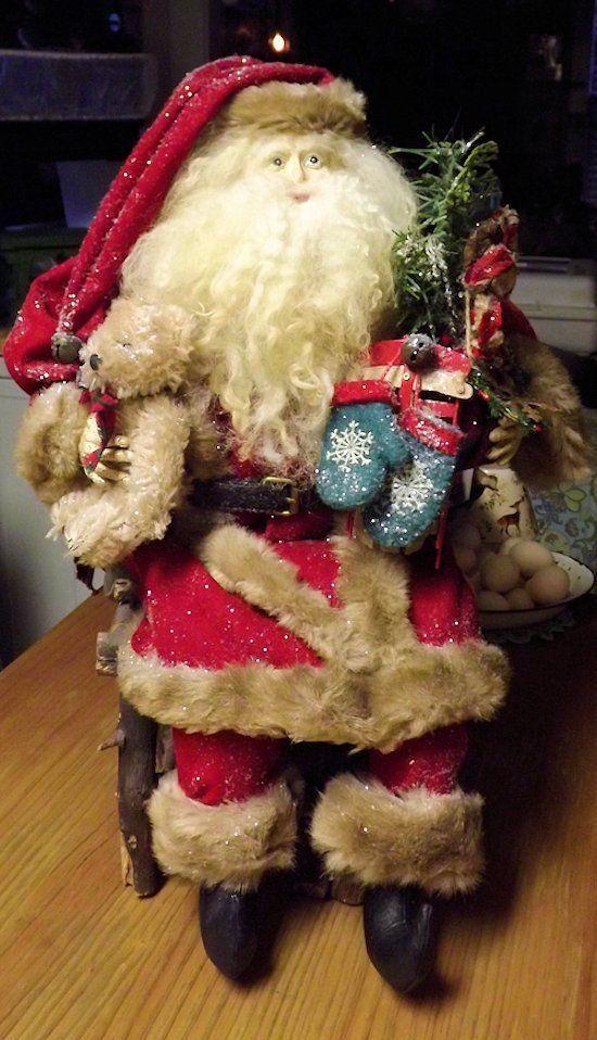 OOAK Handmade Santa Claus Doll  Vintage Christmas Antique Primitive Bear by Sassyredhead65 on Etsy