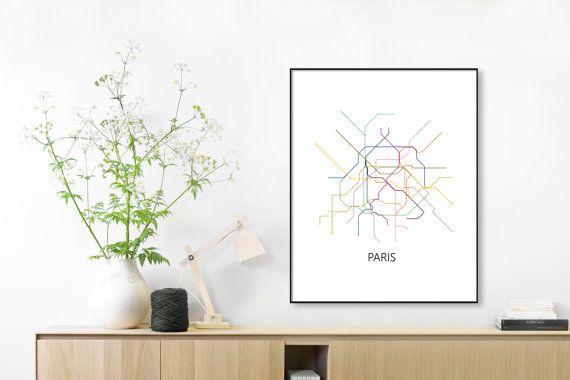 Paris Subway Map Print Paris Metro Map PosterParis PrintParis - Paris metro map print