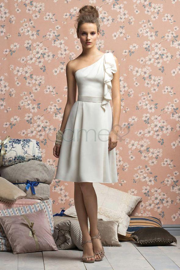 Sanduhr A-Linie eine Schulter Strand ärmelloses schickes & modernes knielanges Brautjungfernkleid