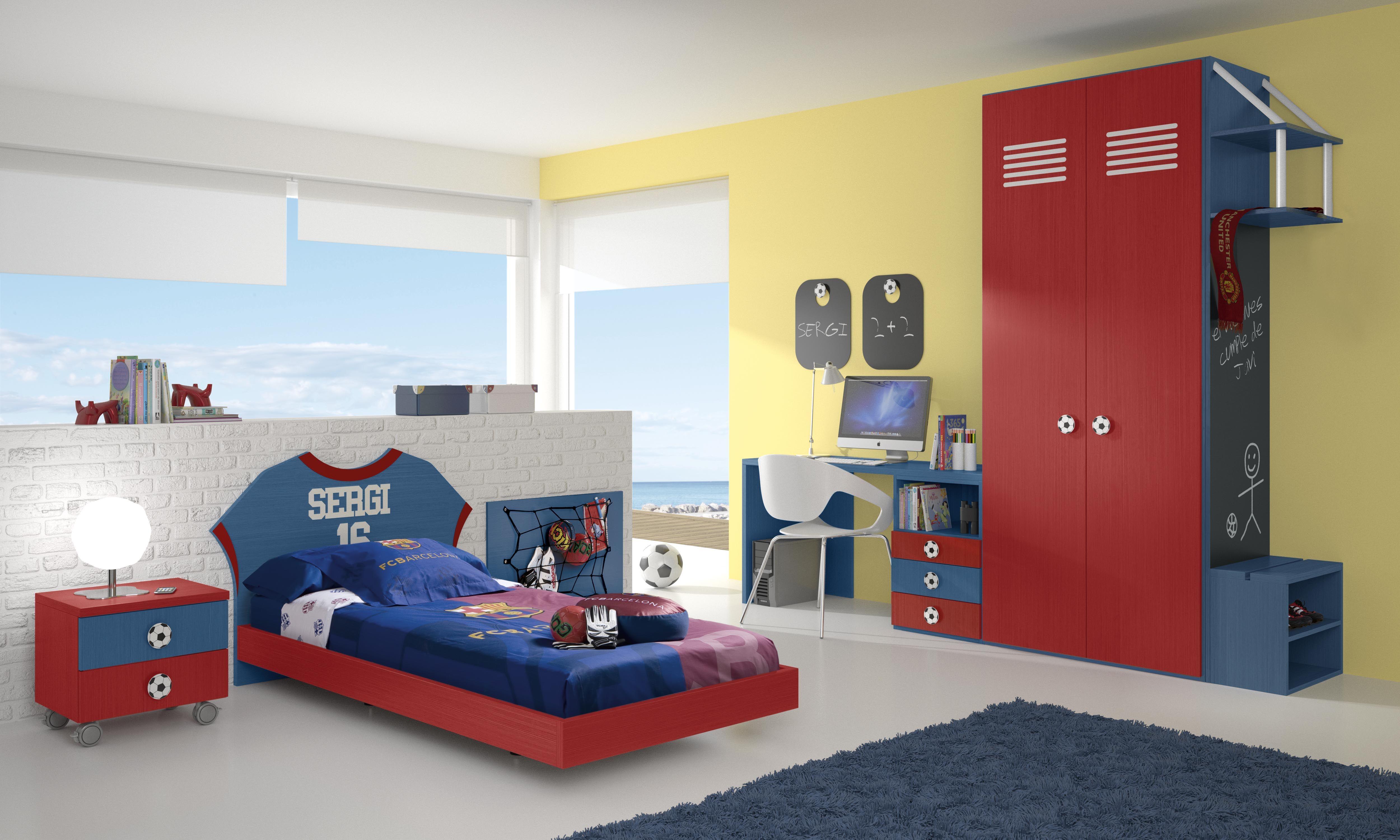 Habitaci n infantil tem tica f tbol 3 barcelona f tbol football pinterest bedroom - Camas infantiles barcelona ...