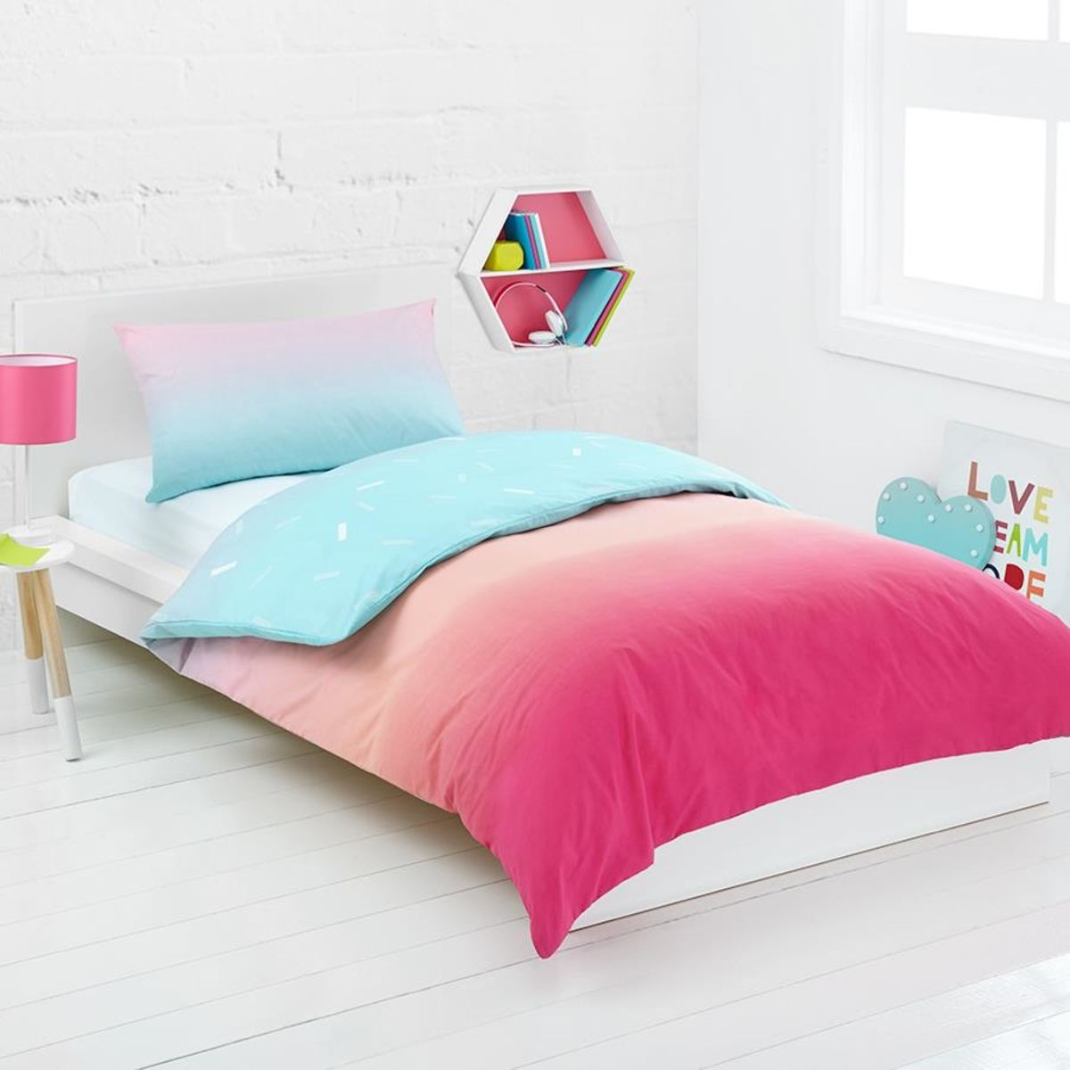 Rainbow Reversible Quilt Cover Set Single Bed Kmart