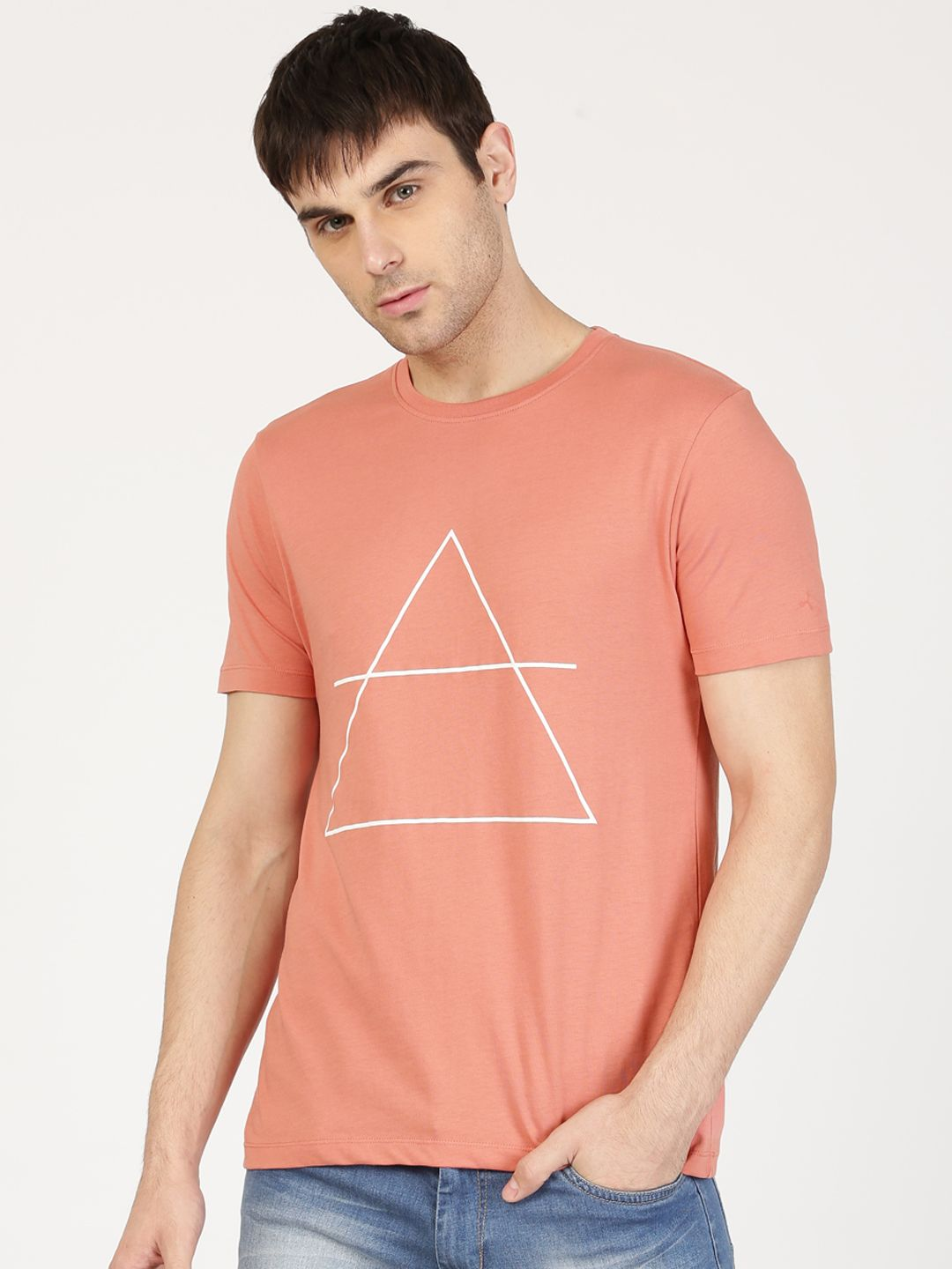 9a854ff050 ether Men Peach-Coloured Printed Round Neck T-shirt - | 349 | Men's ...