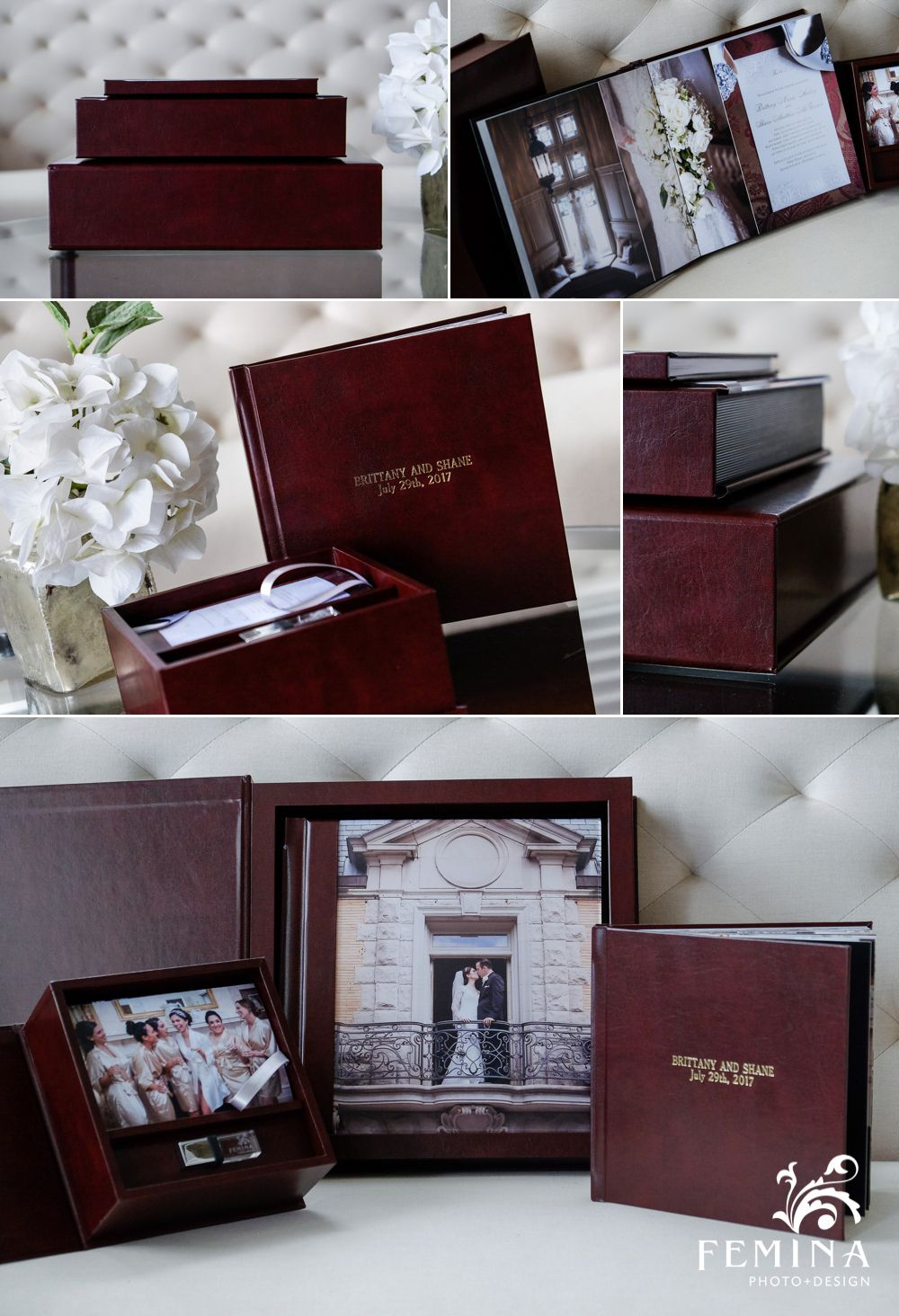 Eternal Collection Wedding Album 10x10 Wrapped In Madison Burgundy Leather With Matching Present Wedding Album Design Wedding Album Cover Wedding Album