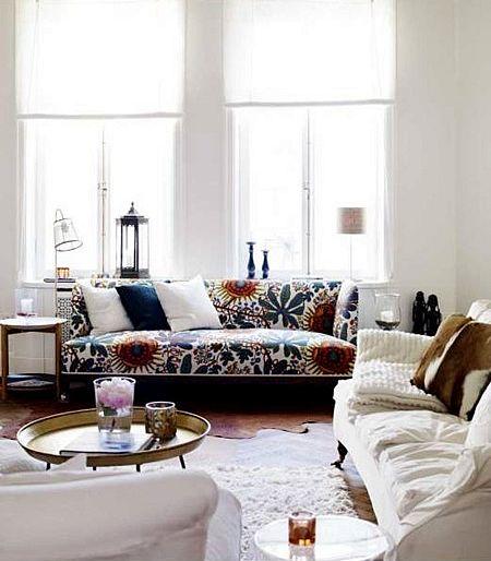 Floral Print Living Room Scandinavian Home Living Room Home