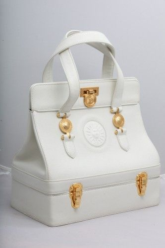 5ed90e35de Extremely rare vintage Gianni Versace white bag with gold hardware. Italy