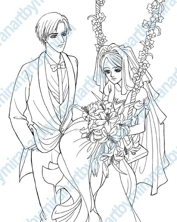 Wedding Digital Coloring page, Digital Stamp, Coloring book, Anime ...