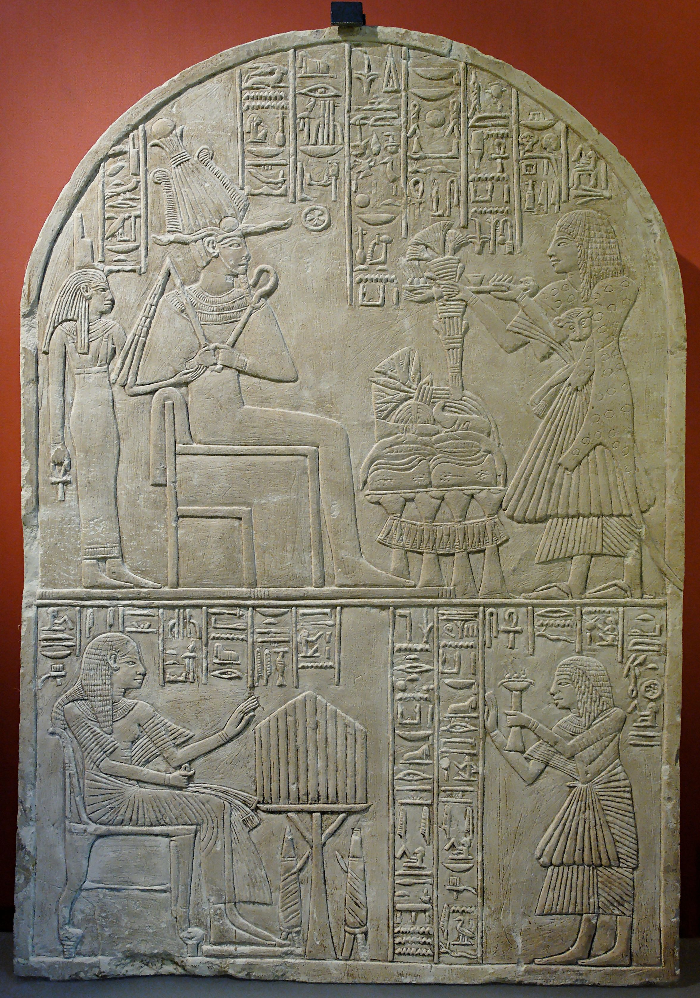 Ancient Egyptian Artifacts | Stele of Iuny, intendant and priest-reader. Upper register: Osiris and ...