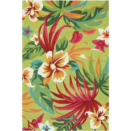 Couristan Covington Painted Fern/Fern-Red Rug, Green