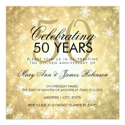 50th Wedding Anniversary Winter Wonderland Gold Invitation