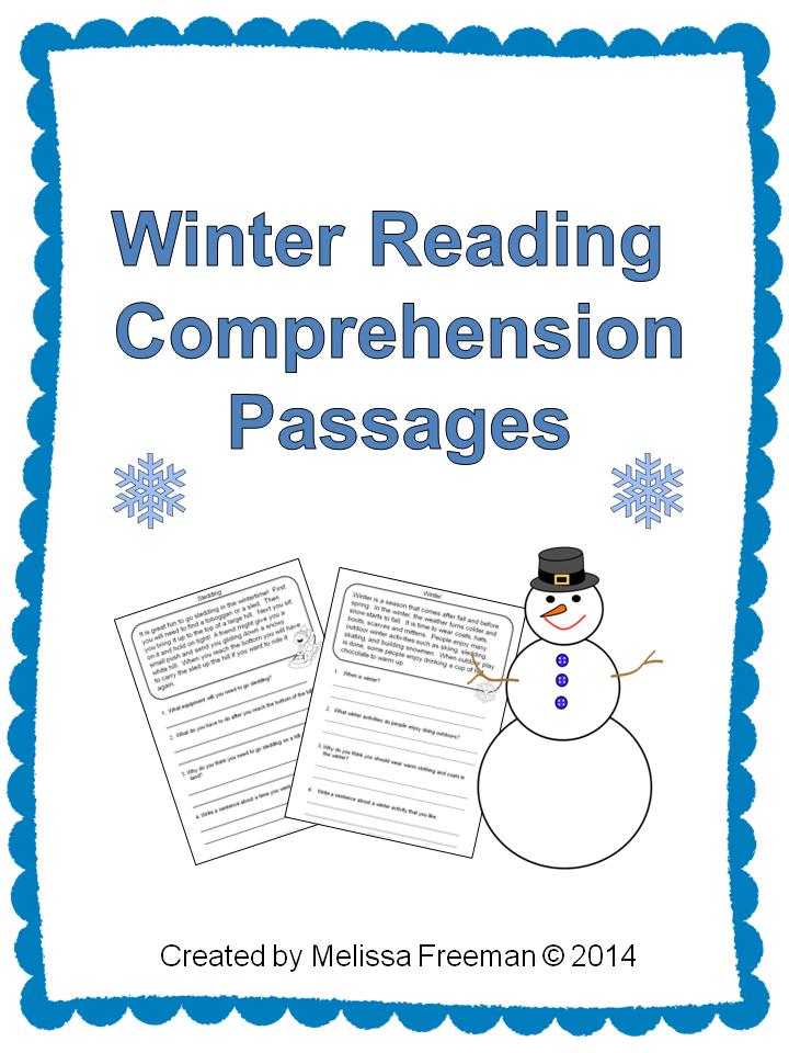 winter reading comprehension passages winter theme reading comprehension and comprehension. Black Bedroom Furniture Sets. Home Design Ideas