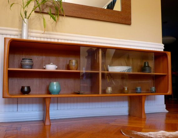 Long Low Mid Century Modern Danish Teak Hutch Bookcase By Circa60 1495 00
