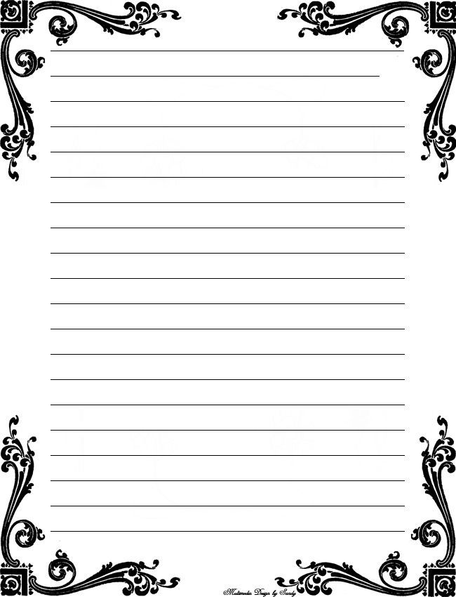 photograph about Free Printable Writing Paper With Borders identify Black+and+White+Printable+Protected+Stationery+Paper