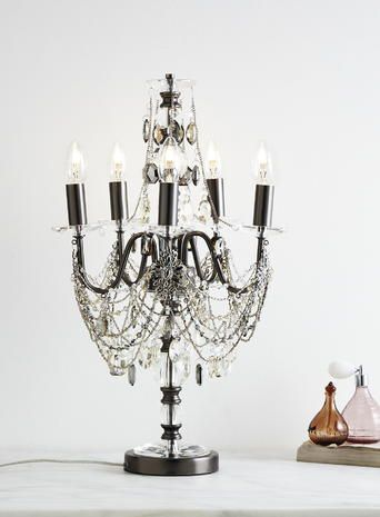 Smoke everly Black Candelabra necklace chandelier table centre piece gun metal black clear chain crystal BHS