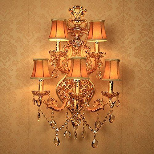 Luxury European Golden Carved Alloy Crystal Corridor Wall Lights 5 Heads Hotel Lobby Candle Style Wall Lighting Fixtures With Fabric Lampshade Bedroom Bedsides Wall Sconces