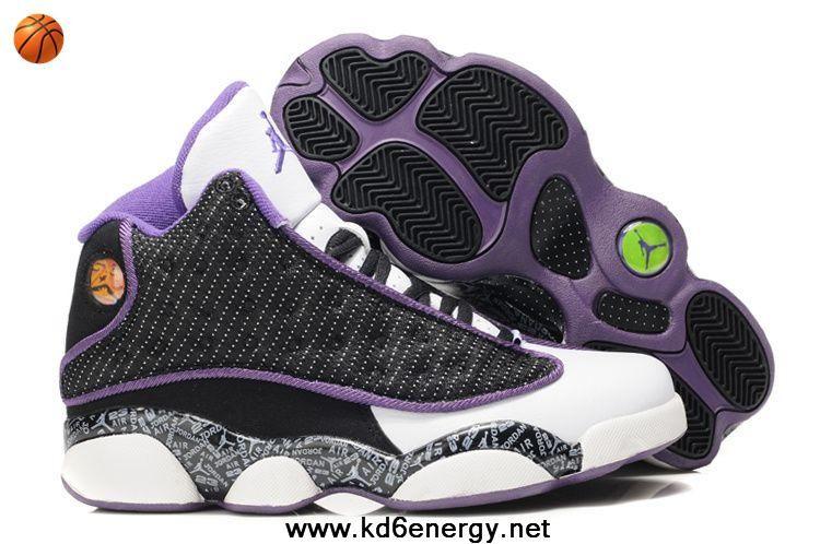 Low Price Women Air Jordan 13 GS Black White Purple