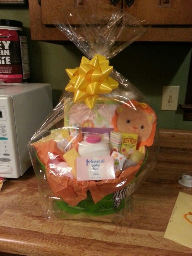 Baby gift basket.. Super easy! Unique gift :) container, plastic ...