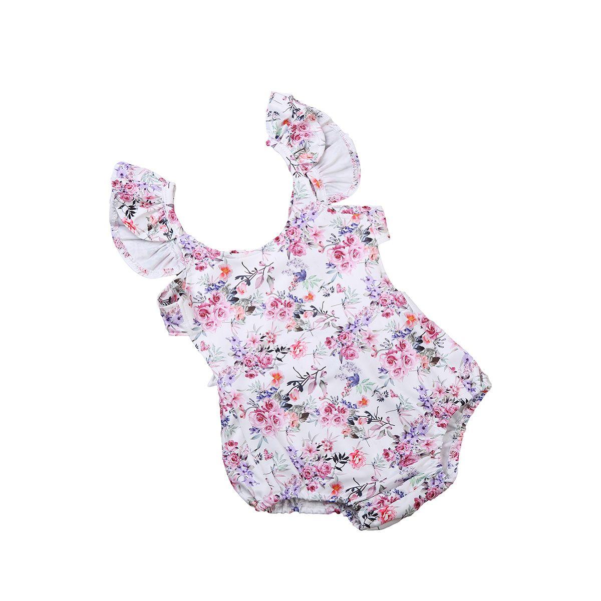 68a16a62cbd 0-24M Newborn Baby Girls Sleeveless Ruffle Floral Backless Bodysuit Flower  Outfits 2017 New Summer