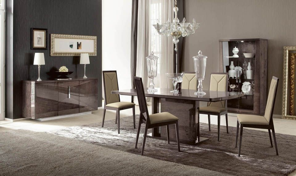 Eva Dining Collection   Made In Italy Birch Wood With Mink Finish Graining  High Gloss Piano Finish