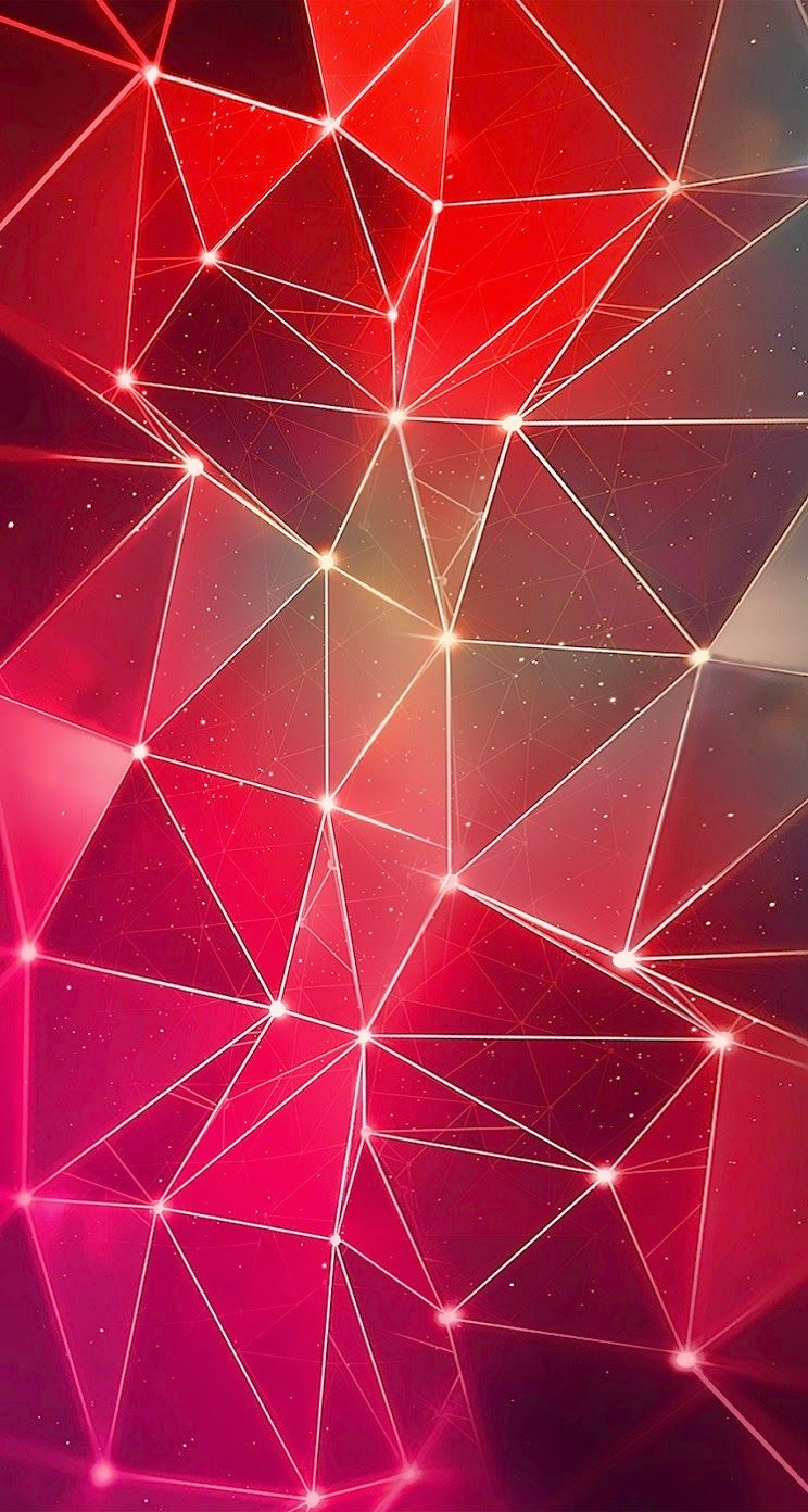 Red Iphone 6s Geometric Bright Wallpaper Abstract Polygon Mosaic