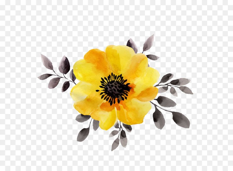 Flower Yellow Watercolor Painting Stock Illustration Yellow Flowers Unlimited Download Kisspng Flores Vectorizadas Acuarela Floral Dibujos Simples Tumblr
