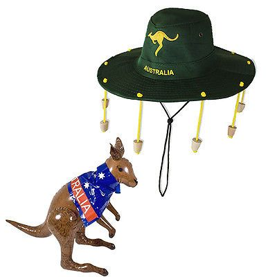 Blow Up Inflatable Australia Kangaroo and Cork Hat Cricket Rugby Sport Ozzy