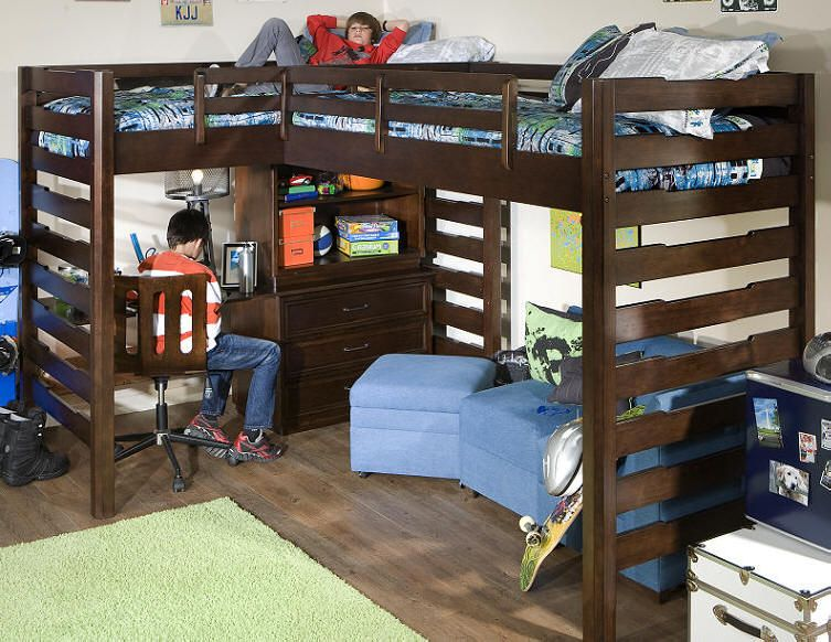 Ball state corner loft bed i need this for the boys room for Boys loft bedroom ideas