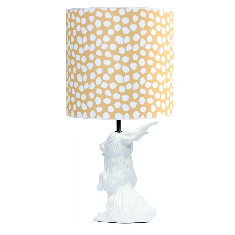 Lampe  poser Céramique Blanc et abat jour Tissu Pois H60cm