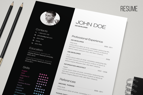 check out b u0026w resume by freebo on creative market a4  any color  bauhaus  blue  business  clean