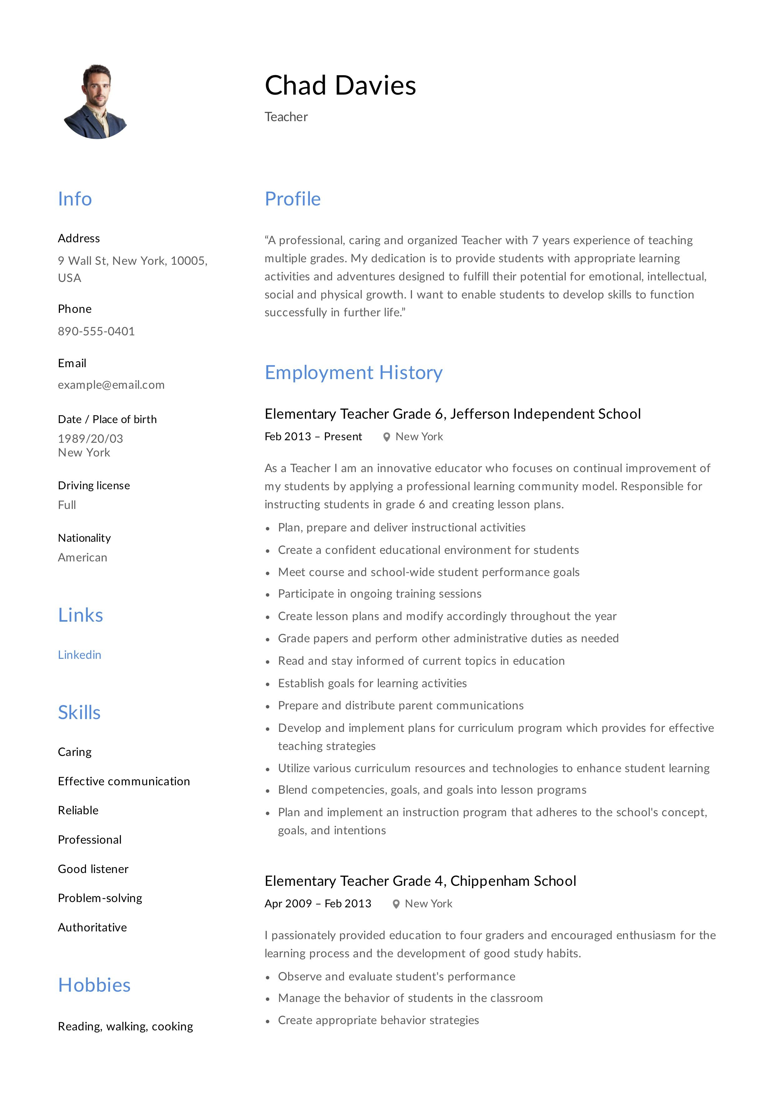 Teacher Resume, template, design, tips, examples, free