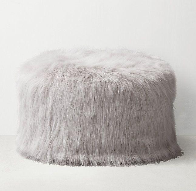 Surprising Kashmir Faux Fur Round Pouf Light Grey Pour La Maison Pdpeps Interior Chair Design Pdpepsorg