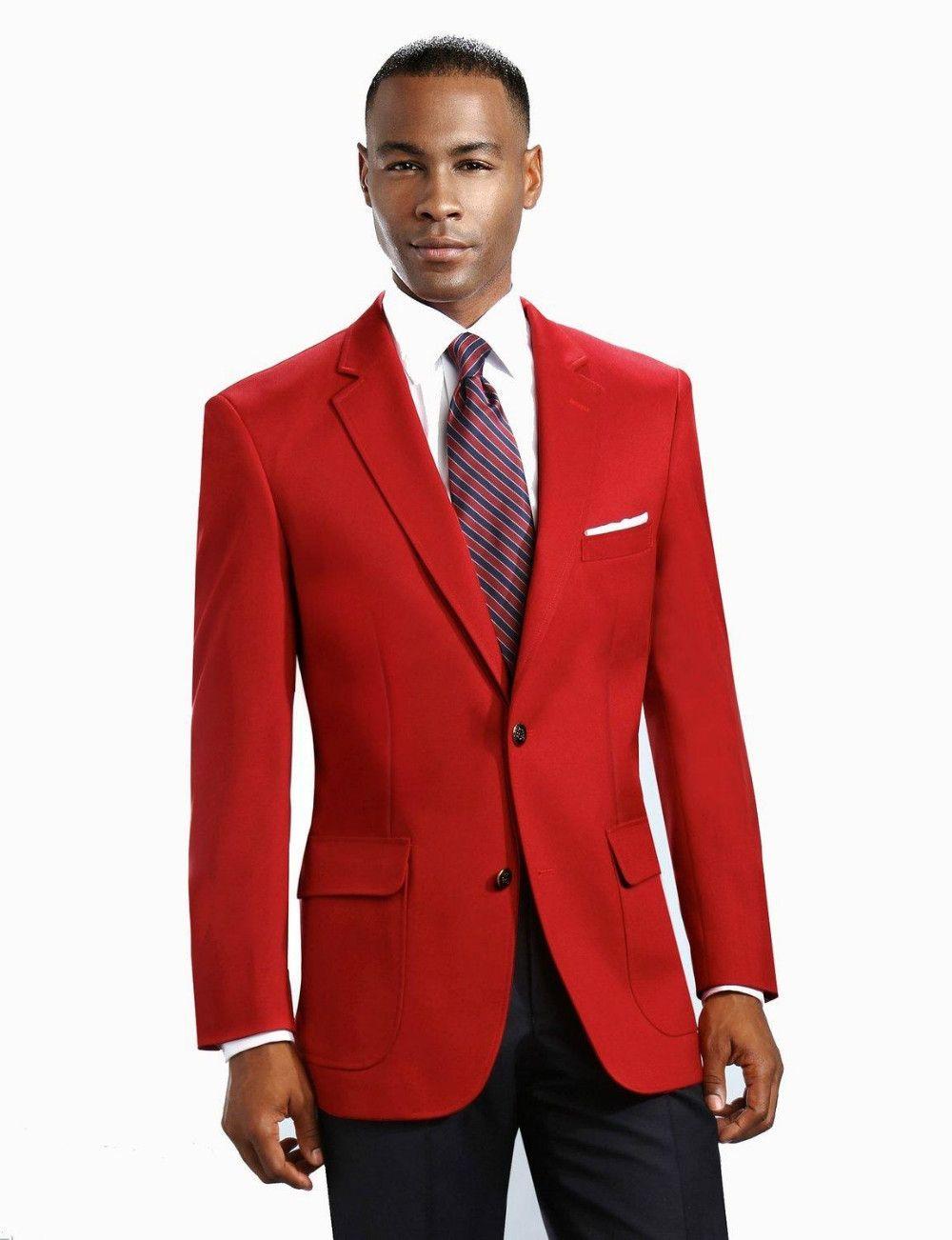 Handsome Red Groom Tuxedos Groomsman Men\'s Wedding Prom Suits Custom ...
