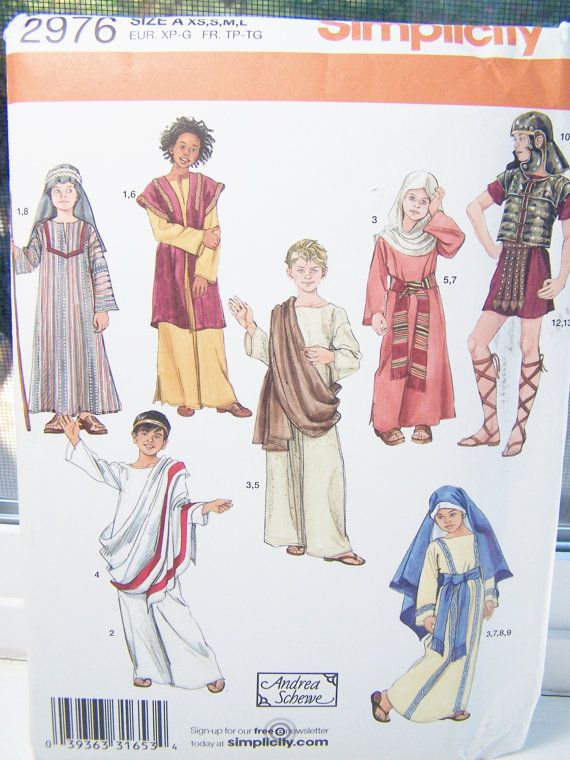 Simplicity Costume Pattern 2976 Boys//Girls Biblical Themed Outfits Sz XS-L