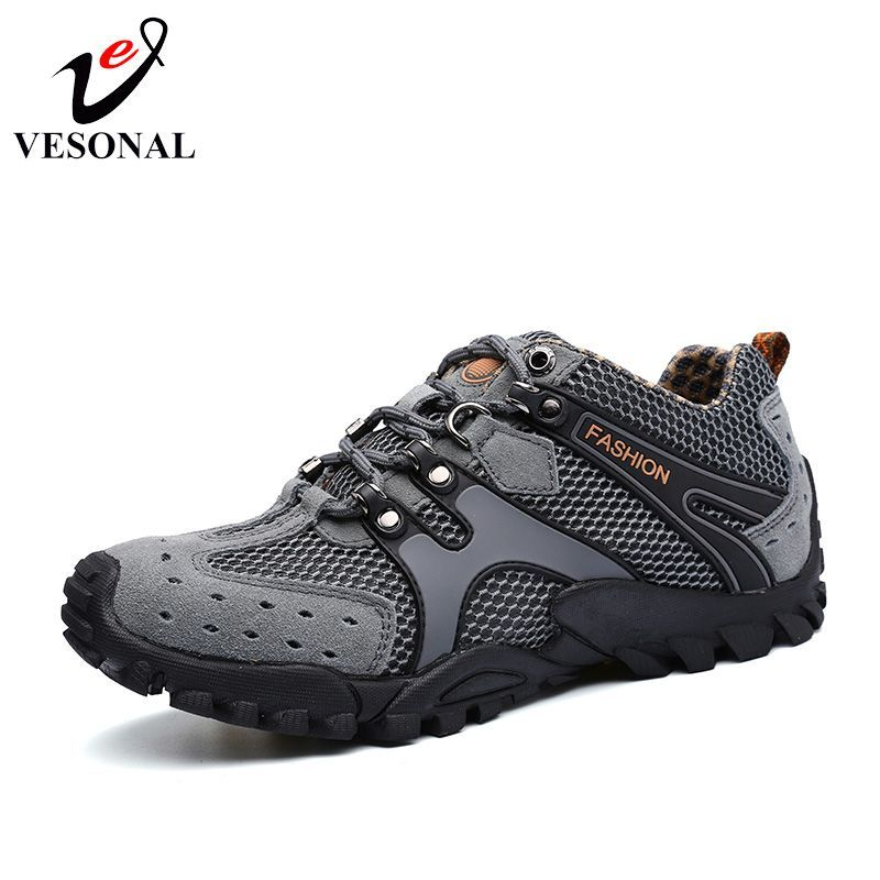 Mens Outdoor Hikking Shoes Breathable Suede Leather + Mesh
