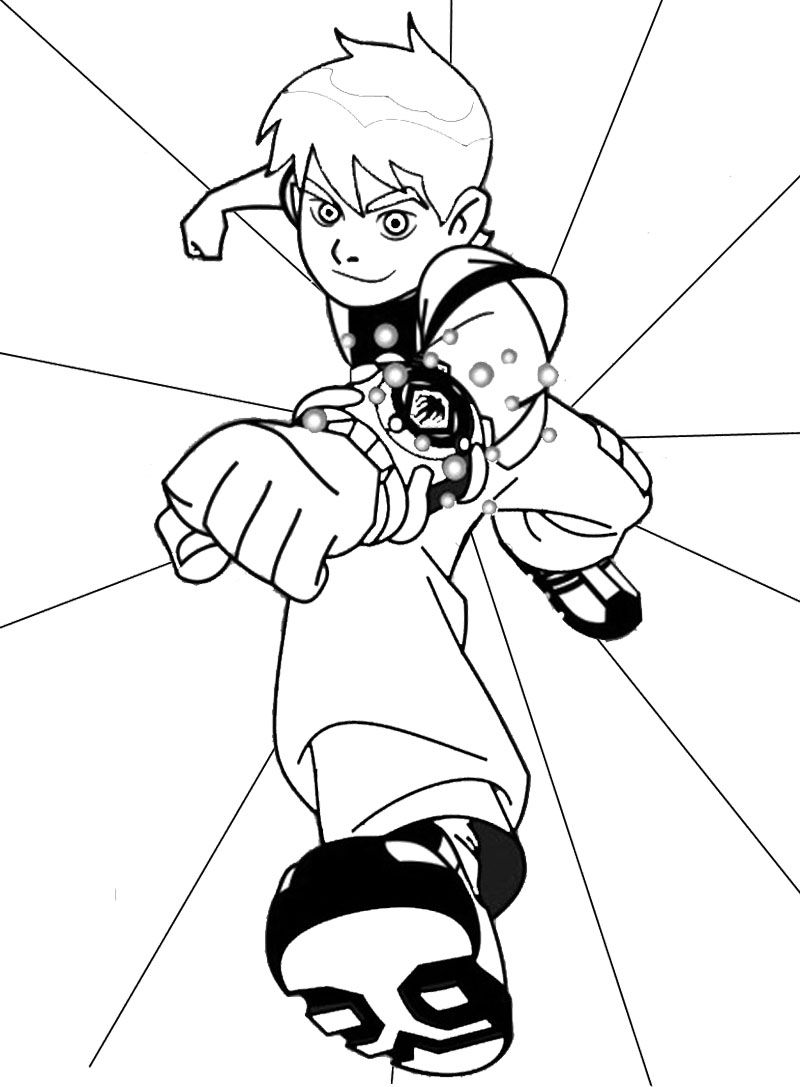 Colouring in pages ben 10 - Cool Ben Ten Coloring Page