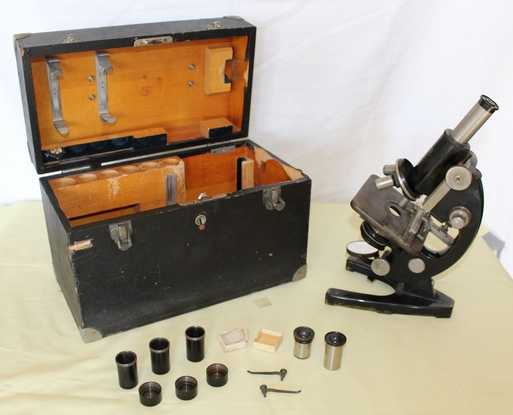 Antique carl zeiss jena microscope in original wood box