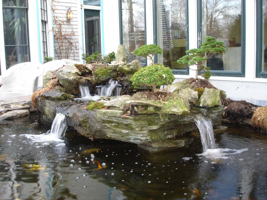 Koi pond water feature garden pond in rockland county for Waterfall features for ponds