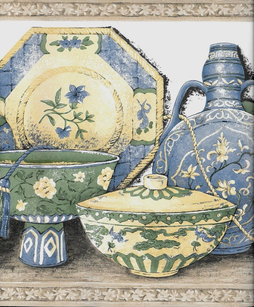 Oriental Pottery and DishesBlue, Yellow and Green on