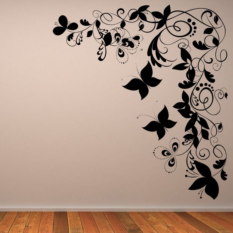 details about butterfly floral decorative corner wall art sticker wall art transfers - Decorative Wall Art