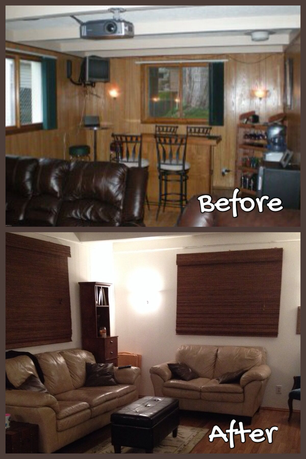 Painted Paneling Living Room: Design Elements: -Painted Wood Paneling White To Brighten
