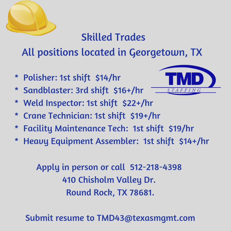Skilled Trades positions in TX. Submit resume