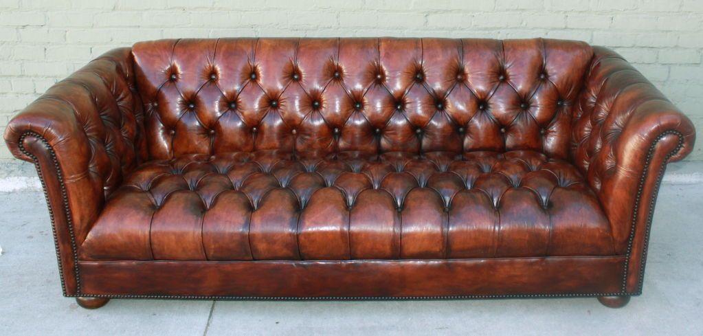 Elegant Vintage Leather Tufted Chesterfield Style Sofa C. 1930u0027s