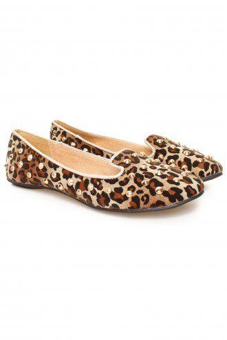 4cb265e4c1 Leopard Print Slipper Style Gold Studded Flat Loafer Shoes | Lovely ...