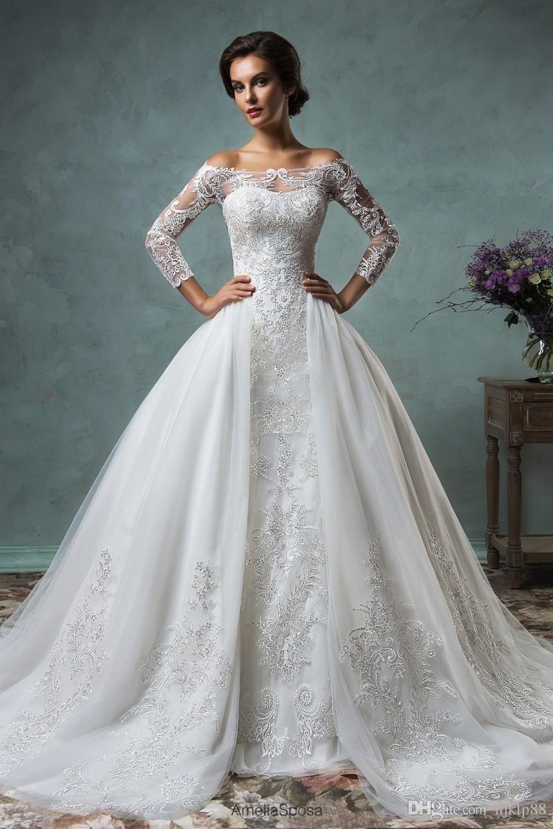 Gorgeous sheer amelia sposa wedding dresses detachable remove