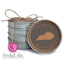 Kentucky Mason Jar Lid Stacking Coaster Set